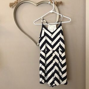 Navy & White Romper with Back cut-out!